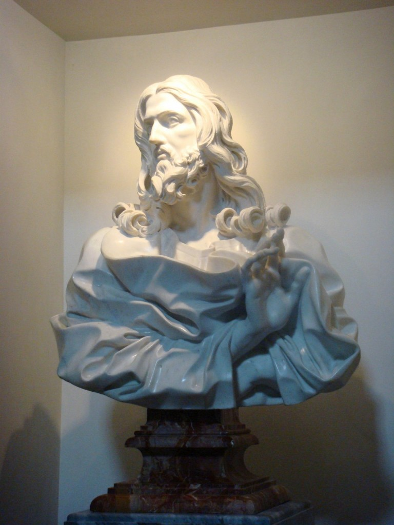 Bernini's final (and recently rediscovered) sculpture: Bust of the Savior (1679), San Sebastiano in Via Appia (photo courtesy of Charles Scribner, III)