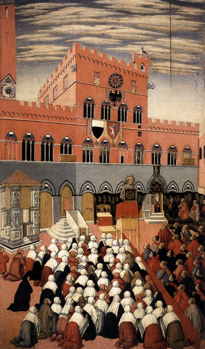 """Sano di Pietro, """"St. Bernardino Preaching, Piazzo del Campo, Siena"""""""